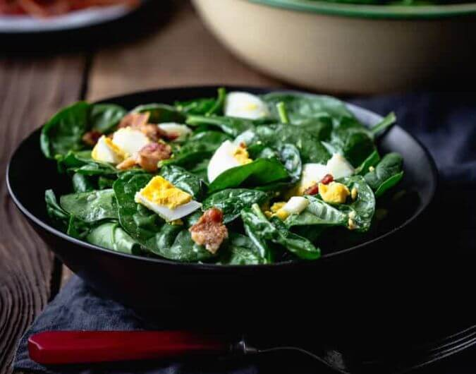 Spinach Salad with Bacon & Eggs