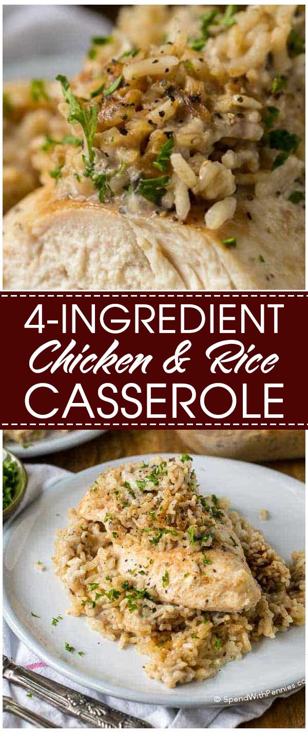 4-Ingredient Chicken And Rice Casserole