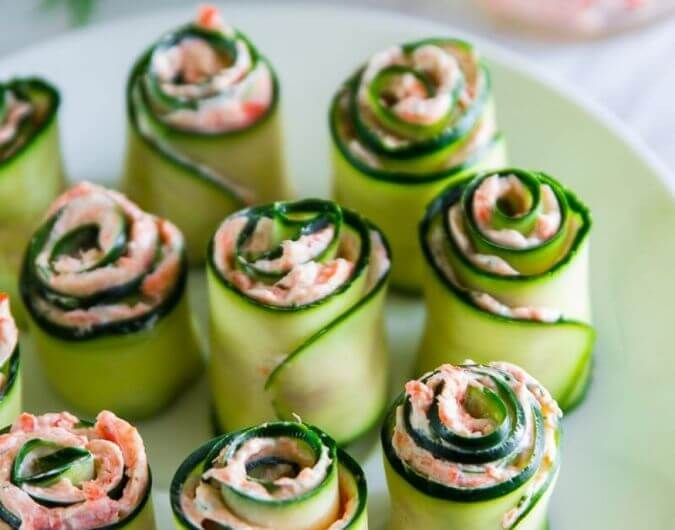 Smoked Salmon Cucumber Rolls With Cream Cheese