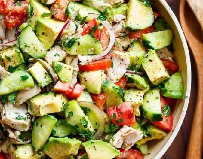 Chicken Cucumber Avocado Salad