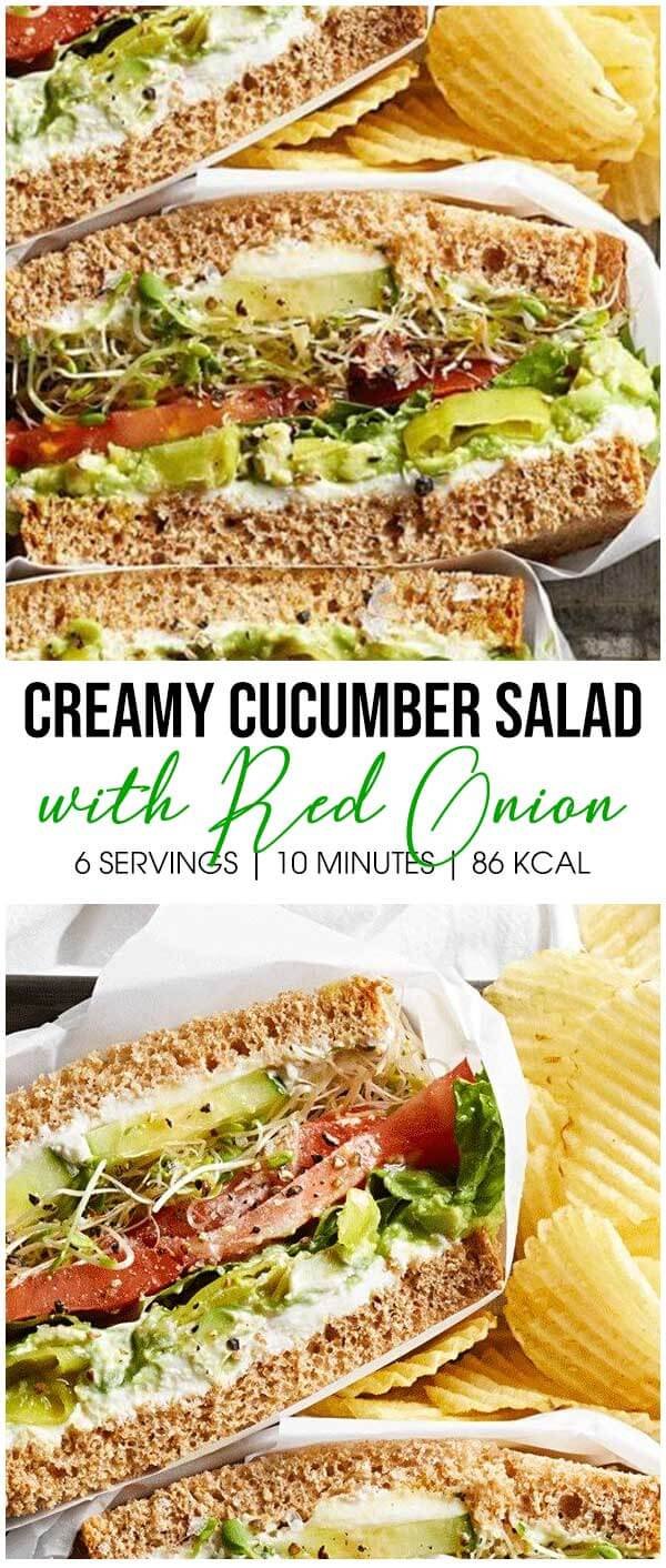Creamy Cucumber Salad with Red Onion