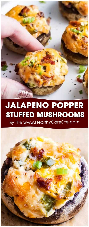 Jalapeno Popper Stuffed Mushrooms