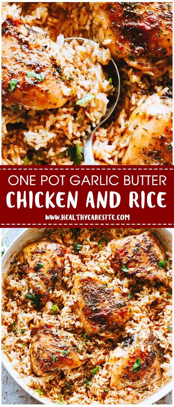 One Pot Garlic Butter Chicken and Rice