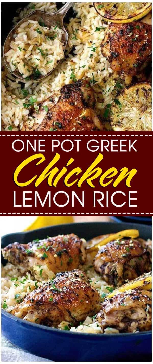 One Pot Greek Chicken and Lemon Rice