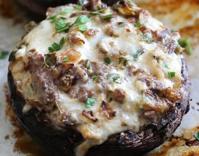 Philly Cheese Steak Stuffed Mushrooms
