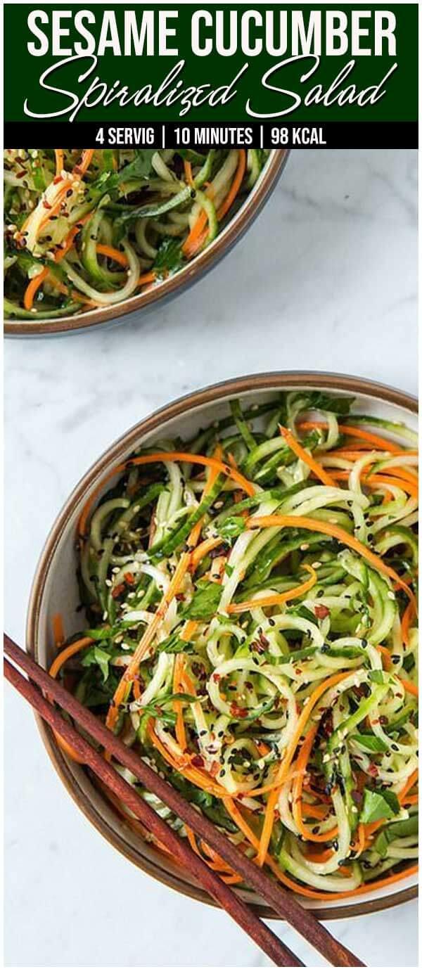 Sesame Cucumber Spiralized Salad