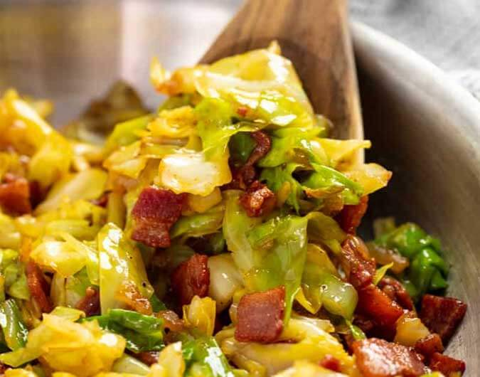 Fried Cabbage with Bacon, Onions and Bell Peppers